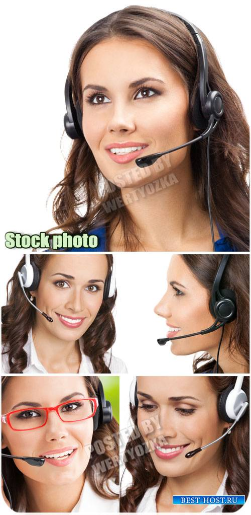 Симпатичные девушки-операторы / Cute girl operators - stock photos