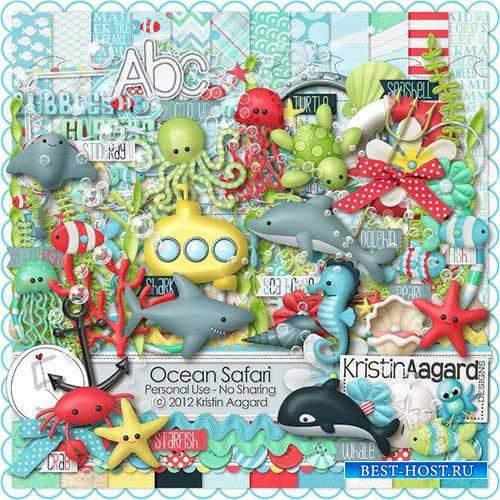 Очаровательный детский скрап-комплект - Морское сафари