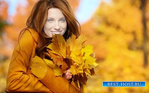 Шаблон женский - Нежная девушка с букетом из листьев