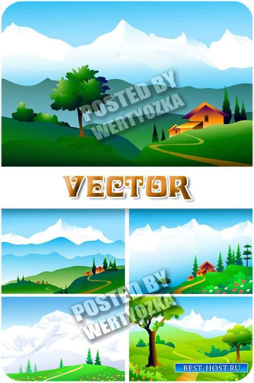 Природные горные пейзажи / Natural mountain scenery - stock vector