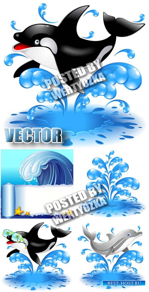Дельфины / Dolphins - stock vector