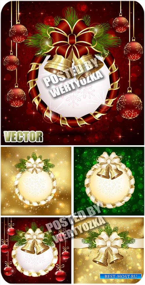 Новогодние фоны с колокольчиками / Christmas background with bells - stock  ...