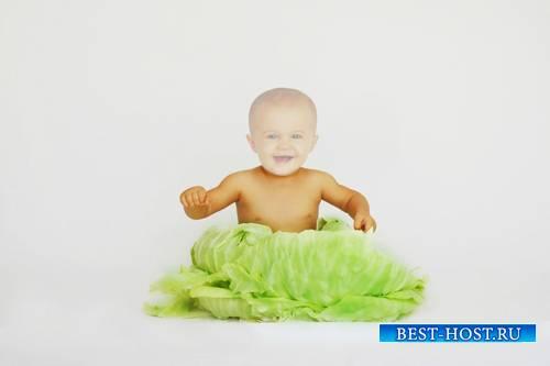 Шаблон для малышей - Малыш в капусте