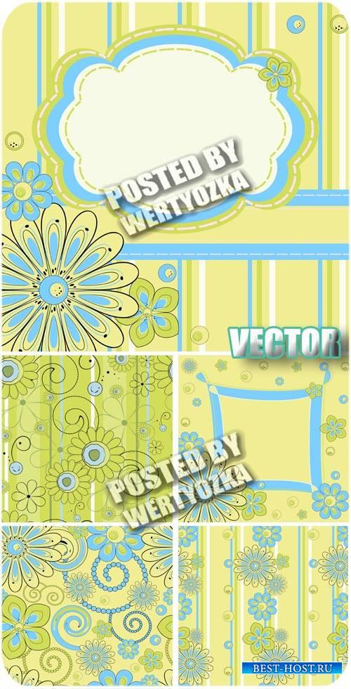 Зеленые фоны с цветочками / Green background with flowers - stock vector