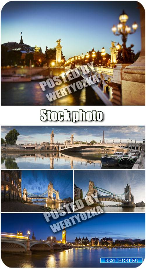 Мост в ночных огнях / Bridge in night lights - stock photos