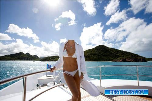 Шаблон для фото - В белом купальнике на яхте