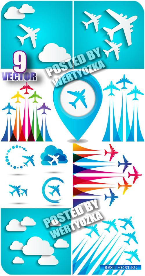 Самолеты и облака / Aircraft and clouds - Stock vector