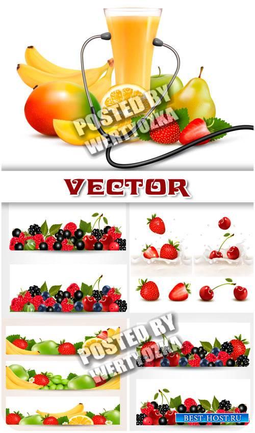 Фрукты и свежий сок, баннеры / Fruit and fresh juice, banners - stock vecto ...
