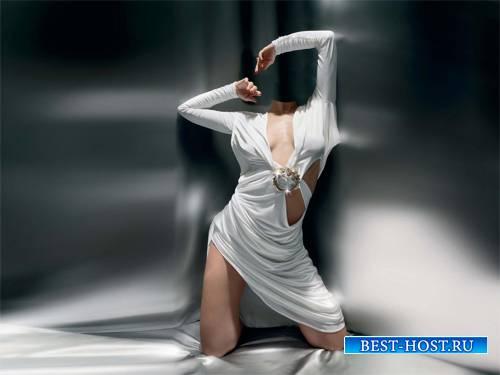 Шаблон psd женский - Девушка в очень красивом платье