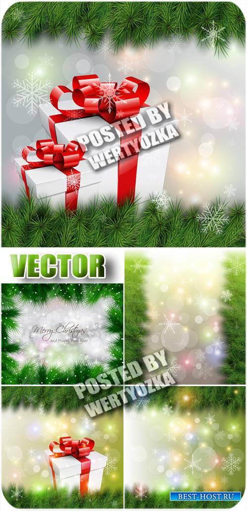 Новогодние фоны с подарками и елкой / Christmas background - stock vector