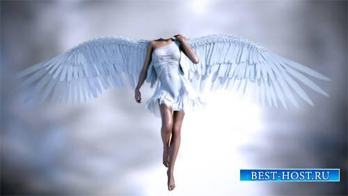 PSD шаблон - Ангел с широкими крыльями в полете