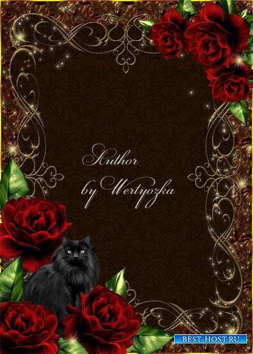Рамка для фотошопа - Розы и черная кошка
