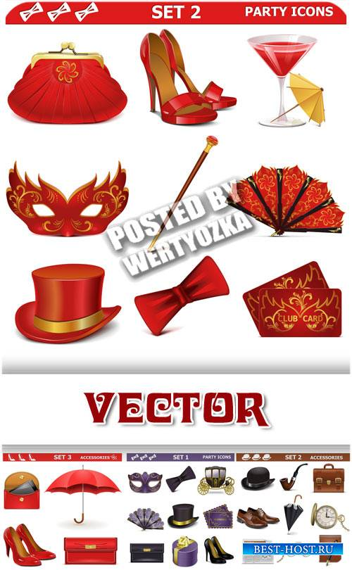 Женские и мужские предметы, иконки / Female and male subjects icons - stock ...
