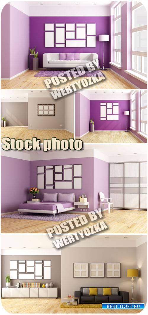 Интерьер в нежных сиреневых тонах / Interior in gentle lilac tones - stock  ...