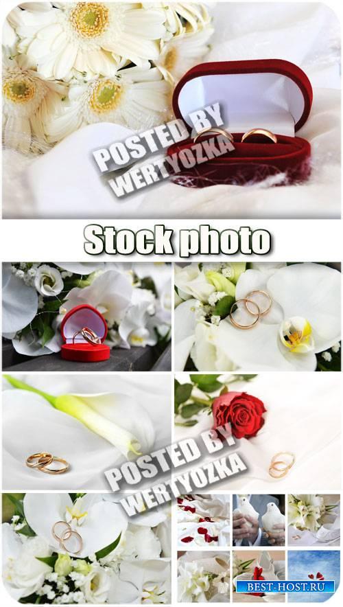 Свадебные коллажи, обручальные кольца и цветы / Wedding collage - stock pho ...