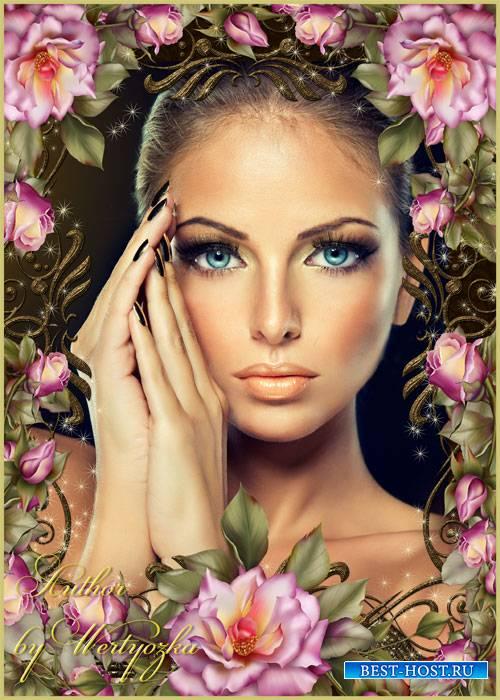Рамка для фотошопа - Розы, блеск, золотые орнаменты