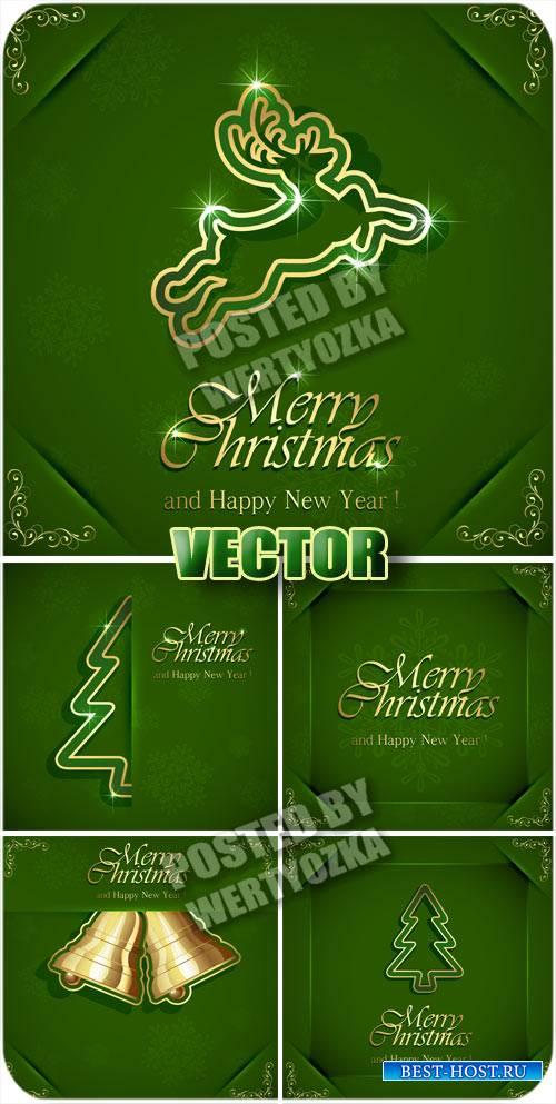 Рождественские зеленые фоны с елкой и колокольчиками / Christmas green back ...