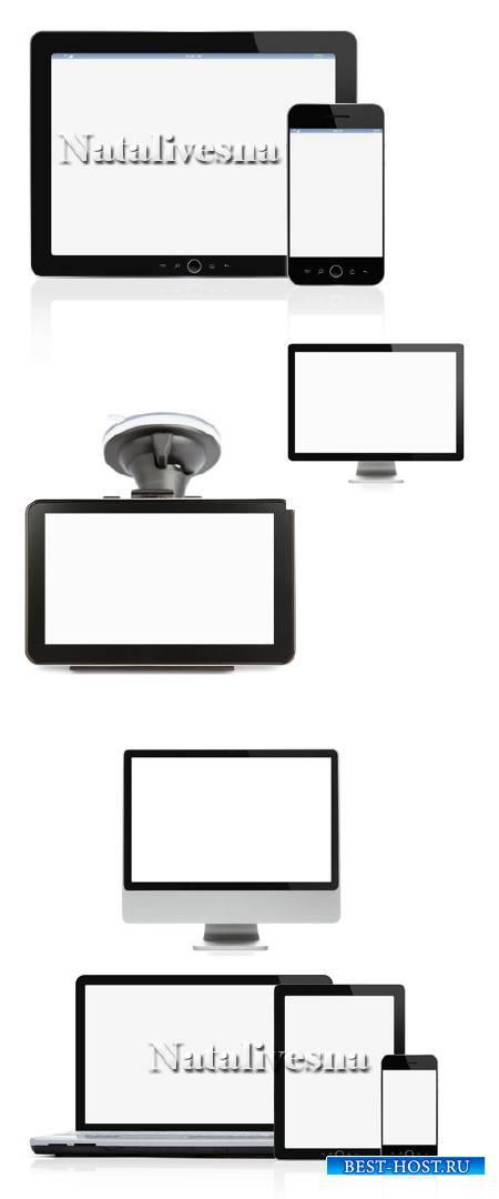 Телефоны, навигаторы, мониторы на белом фоне