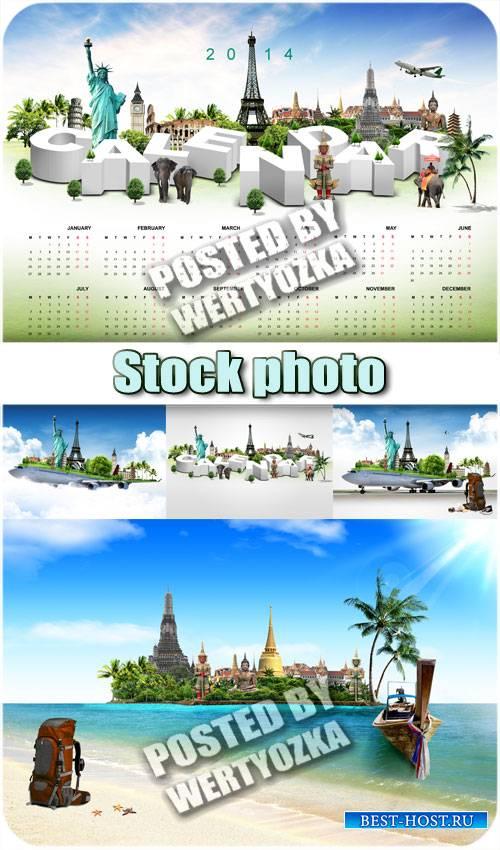 Путешествие, календарь на 2014 год / Travel, calendar for 2014 - stock phot ...
