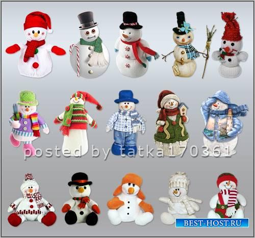 Клипарт для фотошопа - Снеговики для создания зимних коллажей
