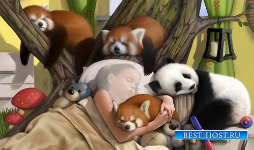 Сладкий сон среди пушистых животных - шаблон для фото