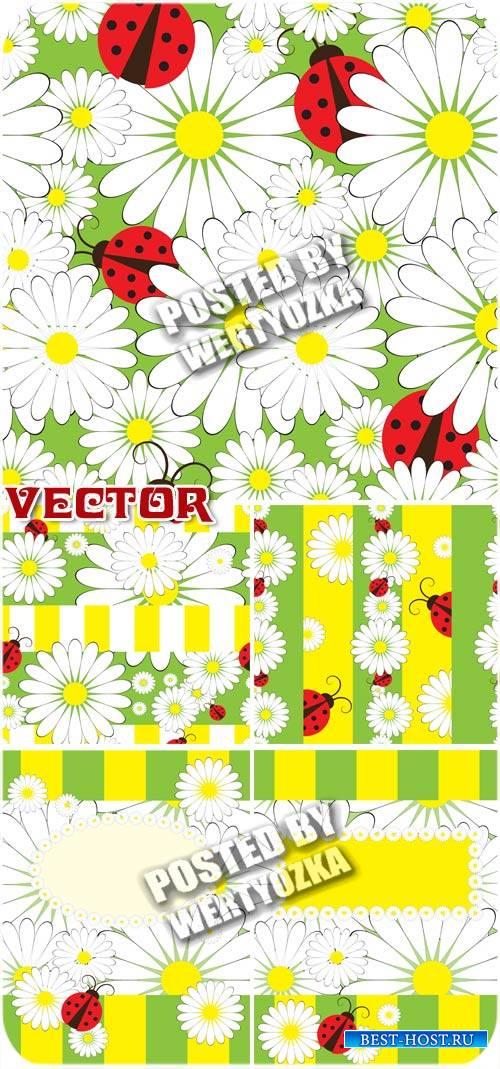Ромашки и божьи коровки / Daisies and ladybugs - stock vector