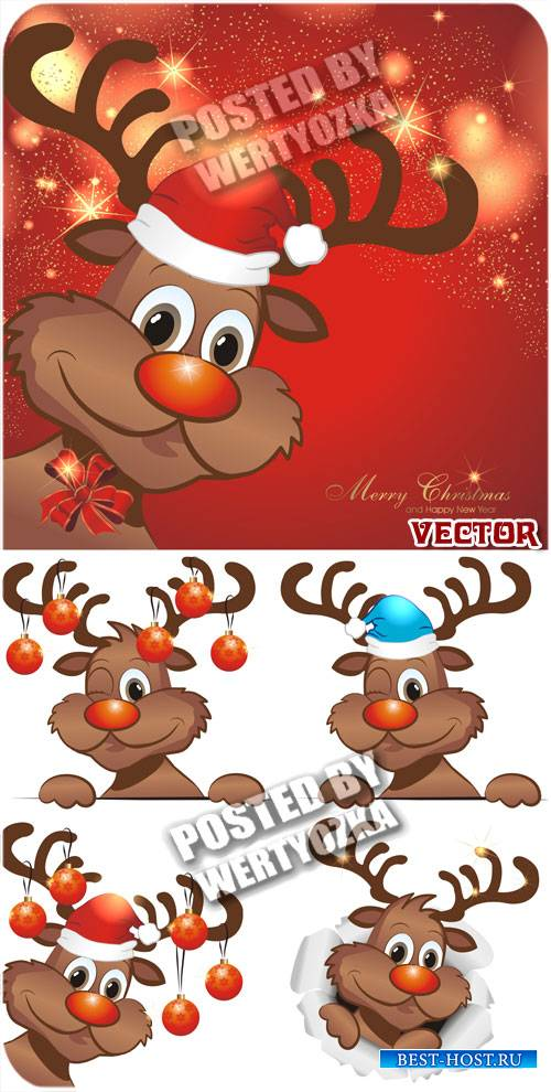 Рождество и северный олень / Christmas reindeer - vector stock