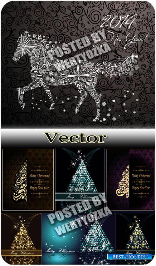 Векторные фоны с лошадкой и новогодними елками / Vector background with a h ...