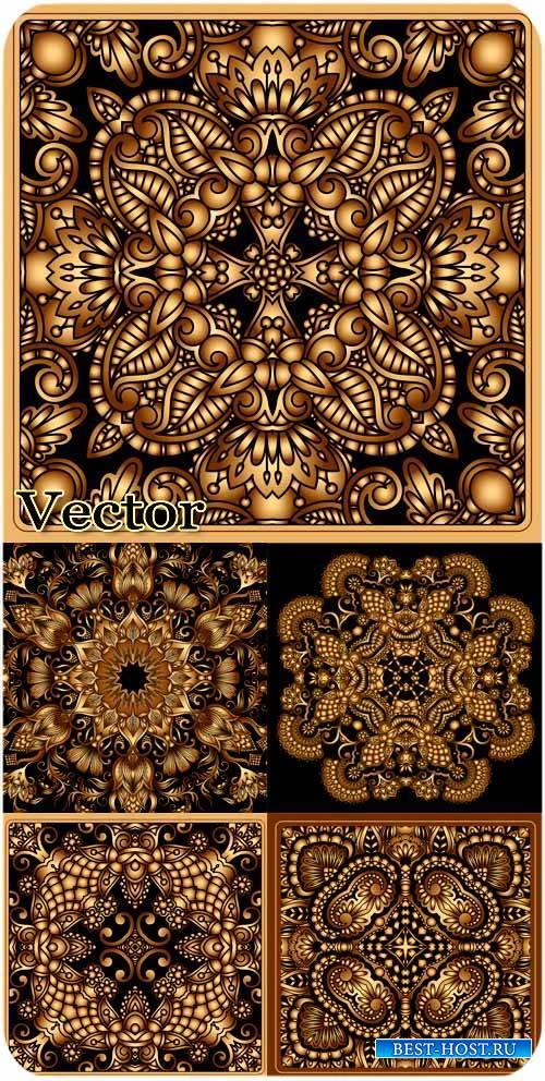 Черные фоны с золотыми узорами / Black background with golden ornaments - s ...