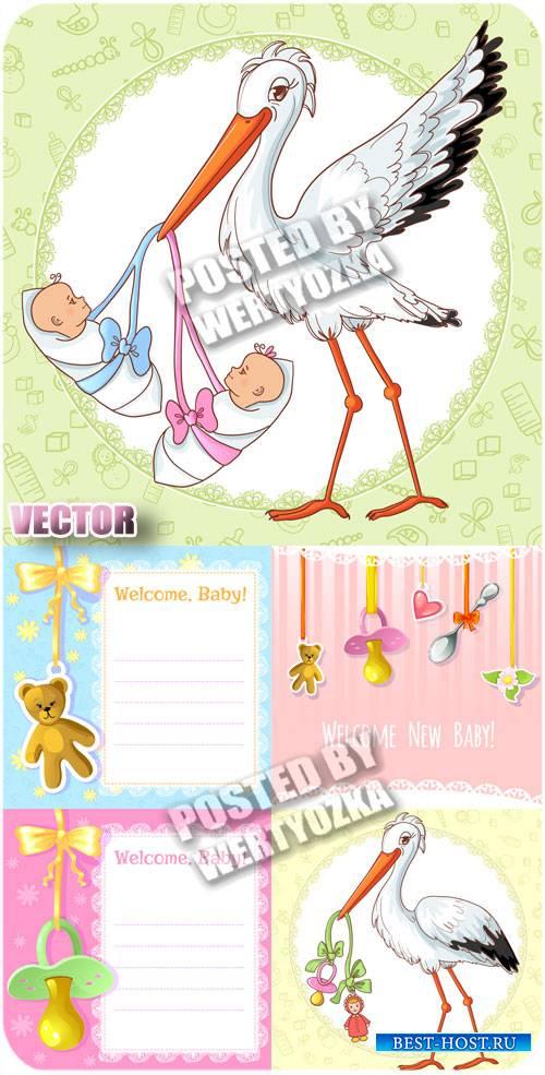 Аист с младенцами / Stork with babies - stock vector