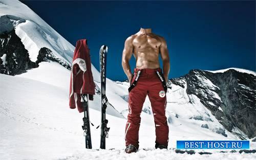 Шаблон для фотошопа - Прекрасный лыжный курорт в снежных Альпах