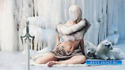 Шаблон для девушек - Стройная девушка в мехах с белыми волками