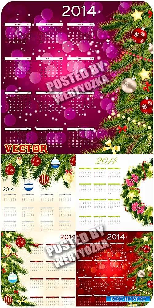 Новогодние календари 2014 с елочными украшениями / New Year calendar 2014 - ...