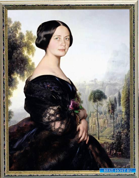 Шаблон  женский - Портрет с пейзажем