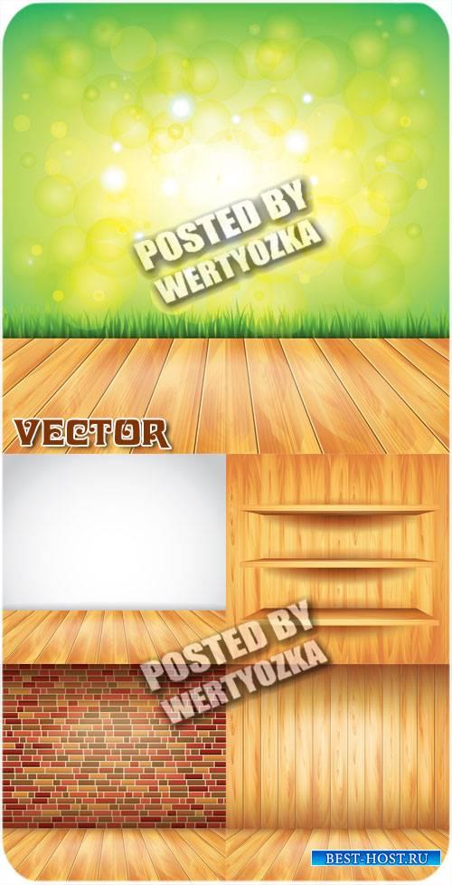 Деревянные полы, кирпичные стены / Wooden floors, brick walls - stock vecto ...