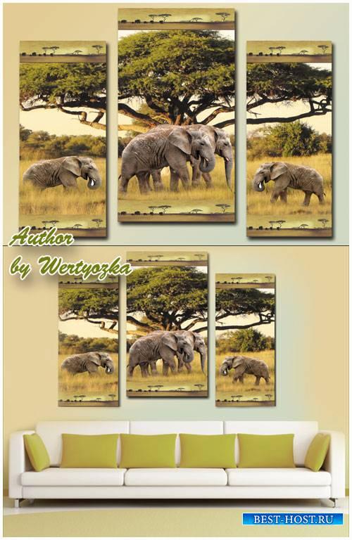 Модульная картина - Африканский пейзаж и слоны
