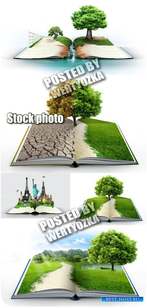 Раскрытая книга, природа, креатив / Opened book, nature, creative - stock p ...