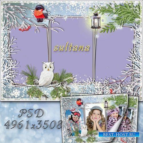 Зимняя рамка для фотошопа - Наступила зима, снегири прилетели