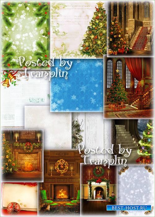 Новогодние фоны - В Новый год за окном тихо падает снег