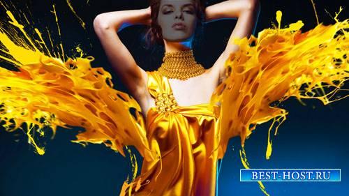 Шаблон для фотошопа - Креативное платье из краски