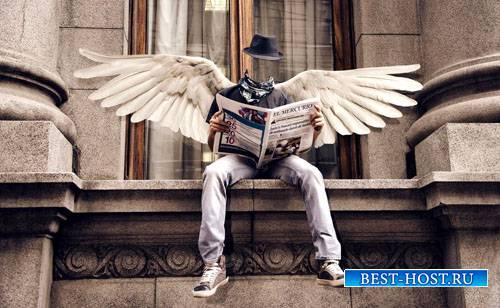 Шаблон для фотошопа - Симпатичный парень с крыльями