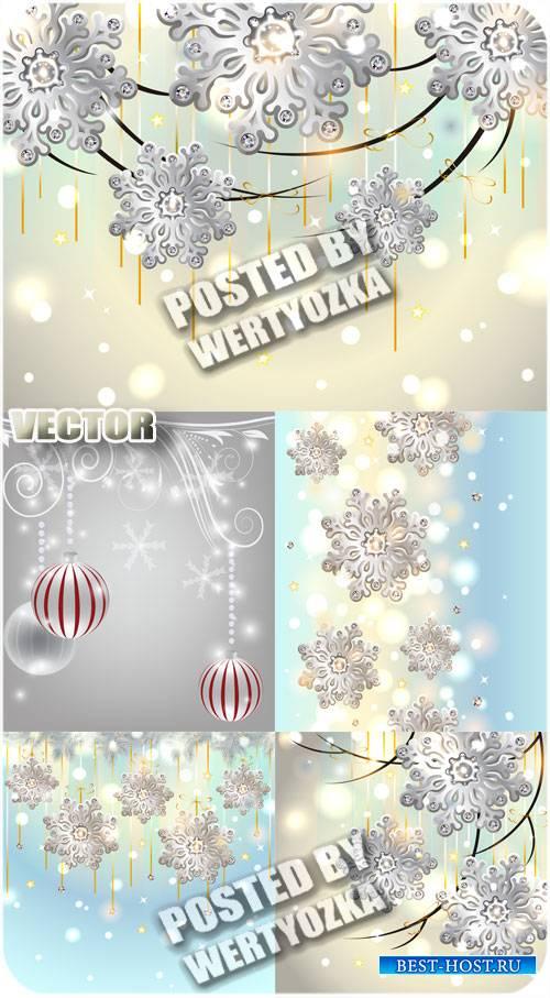 Снежинки на сияющих фонах / Snowflakes on shining backgrounds - stock vecto ...