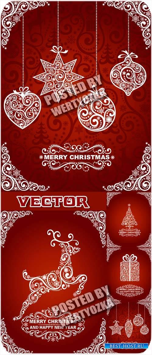 Красные рождественские фоны с белыми украшениями / Red christmas decoration ...