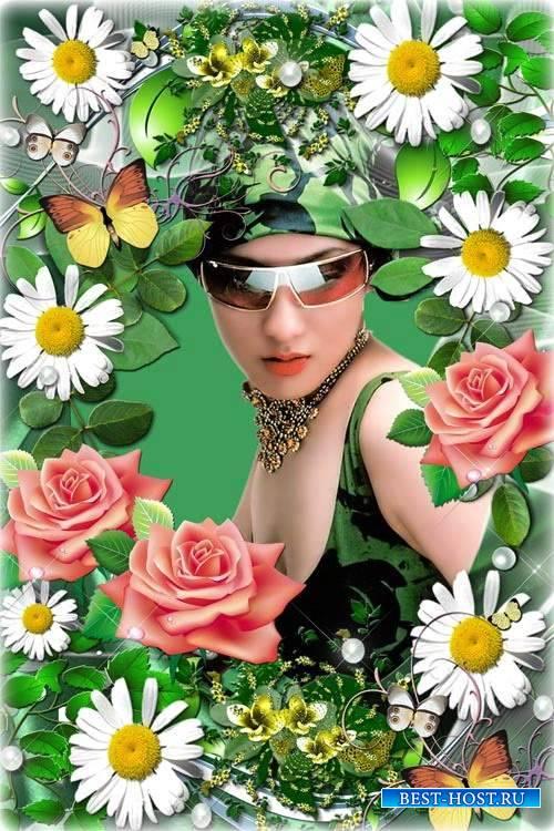 Красивая цветочная рамочка - Белая ромашка на зеленой ножке