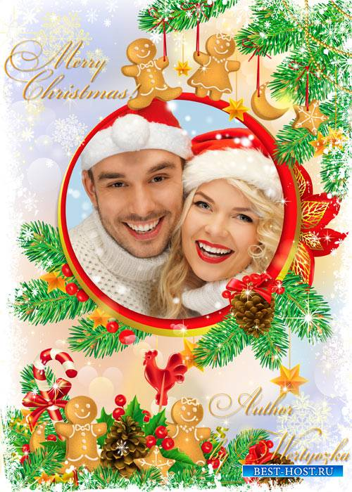 Рождественская рамка для фотошопа - Пушистая елочка и шишки