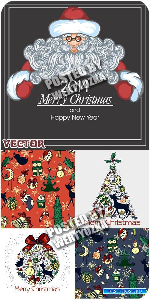 Винтажные векторные фоны с рождественскими элементами и сантой / Vintage ve ...