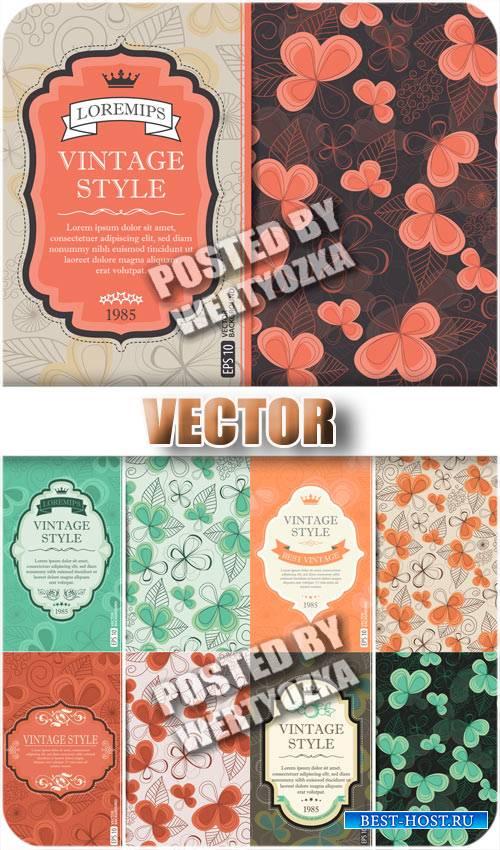 Винтажные векторные обложки с цветами / Vintage vector cover with flowers - ...