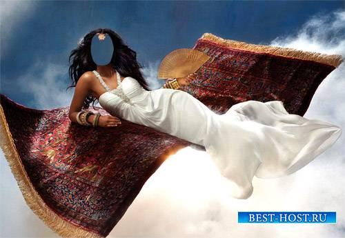 Шаблон для фотомонтажа - Девушка в длинном белом платье на сказочном ковре