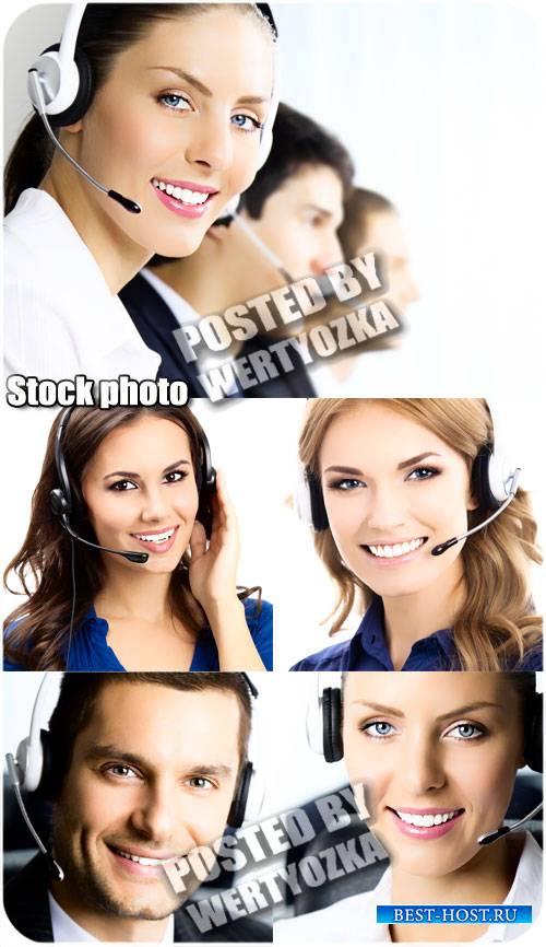 Мужчины и женщины операторы - сток фото