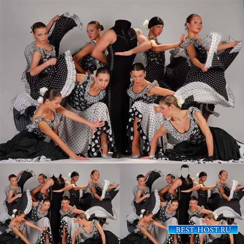 Шаблон для фотомонтажа - Профессиональный танцор с девушками